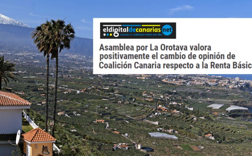 Nota de prensa: Asamblea por La Orotava valora positivamente el cambio de opinión de Coalición Canaria respecto a la Renta Básica