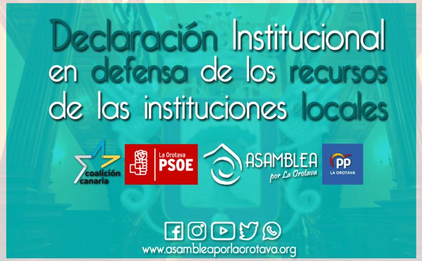 Declaración Institucional en defensa de los recursos de las entidades locales